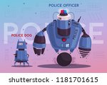 police drone robot with a dog.... | Shutterstock .eps vector #1181701615