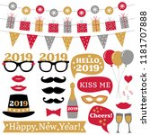 new year 2019 photo booth props ... | Shutterstock .eps vector #1181707888