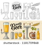 beer set with mug  tap  glass ... | Shutterstock .eps vector #1181709868