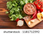 traditional mexican red spicy... | Shutterstock . vector #1181712592