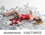 millionaire woman lying in... | Shutterstock . vector #1181718922