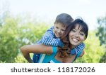 happy mother with boy   against ... | Shutterstock . vector #118172026