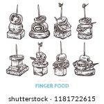 finger food vector sketch hand... | Shutterstock .eps vector #1181722615