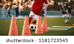 soccer drills  the slalom drill.... | Shutterstock . vector #1181723545