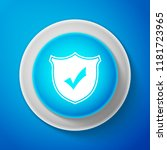 white shield with check mark... | Shutterstock .eps vector #1181723965