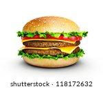 big tasty hamburger isolated on ... | Shutterstock . vector #118172632