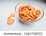 potato chips in a glass bowl on ... | Shutterstock . vector #1181728522