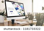 computer with digital website... | Shutterstock . vector #1181733322