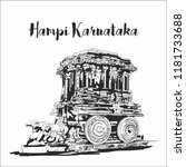 hampi karnataka india. sketch... | Shutterstock .eps vector #1181733688