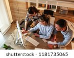 group of office workers using... | Shutterstock . vector #1181735065