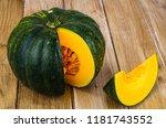 round sweet ripe pumpkin on...   Shutterstock . vector #1181743552