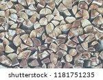 stack of firewood | Shutterstock . vector #1181751235