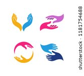 hand care logo design template. ... | Shutterstock .eps vector #1181754688