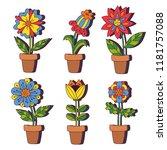 flower pots line doodle... | Shutterstock .eps vector #1181757088