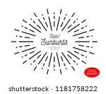 sunburst design element. oval... | Shutterstock . vector #1181758222