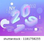 2019 neon holographic memphis...   Shutterstock .eps vector #1181758255