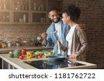happy african american couple... | Shutterstock . vector #1181762722