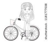 fashion girl and bike in black... | Shutterstock .eps vector #1181777038