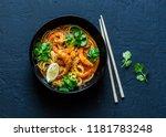coconut shrimp laksa soup on a... | Shutterstock . vector #1181783248