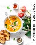 roasted pumpkin and apples... | Shutterstock . vector #1181783602