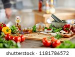 fresh culinary herbs  spices... | Shutterstock . vector #1181786572