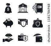 bank deposit icon set. simple... | Shutterstock .eps vector #1181786968