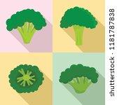 green broccoli icon set. flat... | Shutterstock .eps vector #1181787838