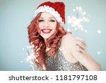 santas little helper. beautiful ... | Shutterstock . vector #1181797108