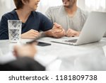 happy young couple consulting... | Shutterstock . vector #1181809738