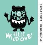 hello wild one text and monster ...   Shutterstock .eps vector #1181814358