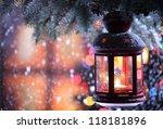 Christmas Lantern With Snowfal...
