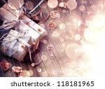 christmas background  lights on ... | Shutterstock . vector #118181965