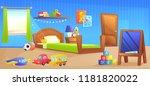 kid boy room interior design... | Shutterstock .eps vector #1181820022