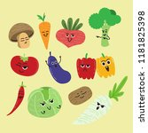 a pack of cartoon vegetables... | Shutterstock .eps vector #1181825398