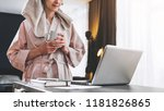 young woman in bathrobe and... | Shutterstock . vector #1181826865