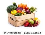 pine box full of colorful fresh ...   Shutterstock . vector #1181833585