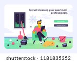 a lazy person in a dirty room. | Shutterstock .eps vector #1181835352