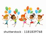 children are jumping with... | Shutterstock .eps vector #1181839768