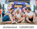 friends drinking beer and... | Shutterstock . vector #1181843182