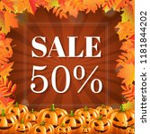 autumn discount halloween... | Shutterstock .eps vector #1181844202