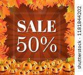 autumn discount halloween... | Shutterstock .eps vector #1181844202