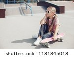 little cute girl with... | Shutterstock . vector #1181845018