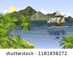 tropical landscape with sea bay ... | Shutterstock .eps vector #1181858272