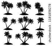 set of palm tree silhouettes ...   Shutterstock .eps vector #1181858278