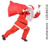 santa claus with bell carries a ... | Shutterstock . vector #118186216