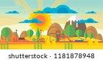 beautiful vector autumn... | Shutterstock .eps vector #1181878948