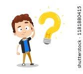 young boy having question. idea ... | Shutterstock .eps vector #1181880415