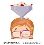 girl in glasses gaining...   Shutterstock .eps vector #1181880418