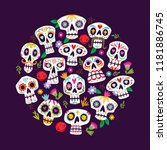 colorful mexican skulls... | Shutterstock .eps vector #1181886745