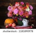 autumn still life with flowers... | Shutterstock . vector #1181890978